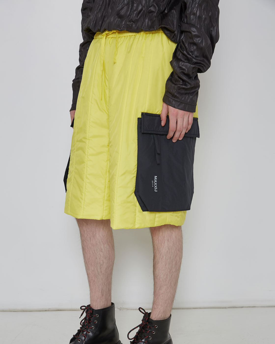 Yellow Military Cargo Padding Shorts