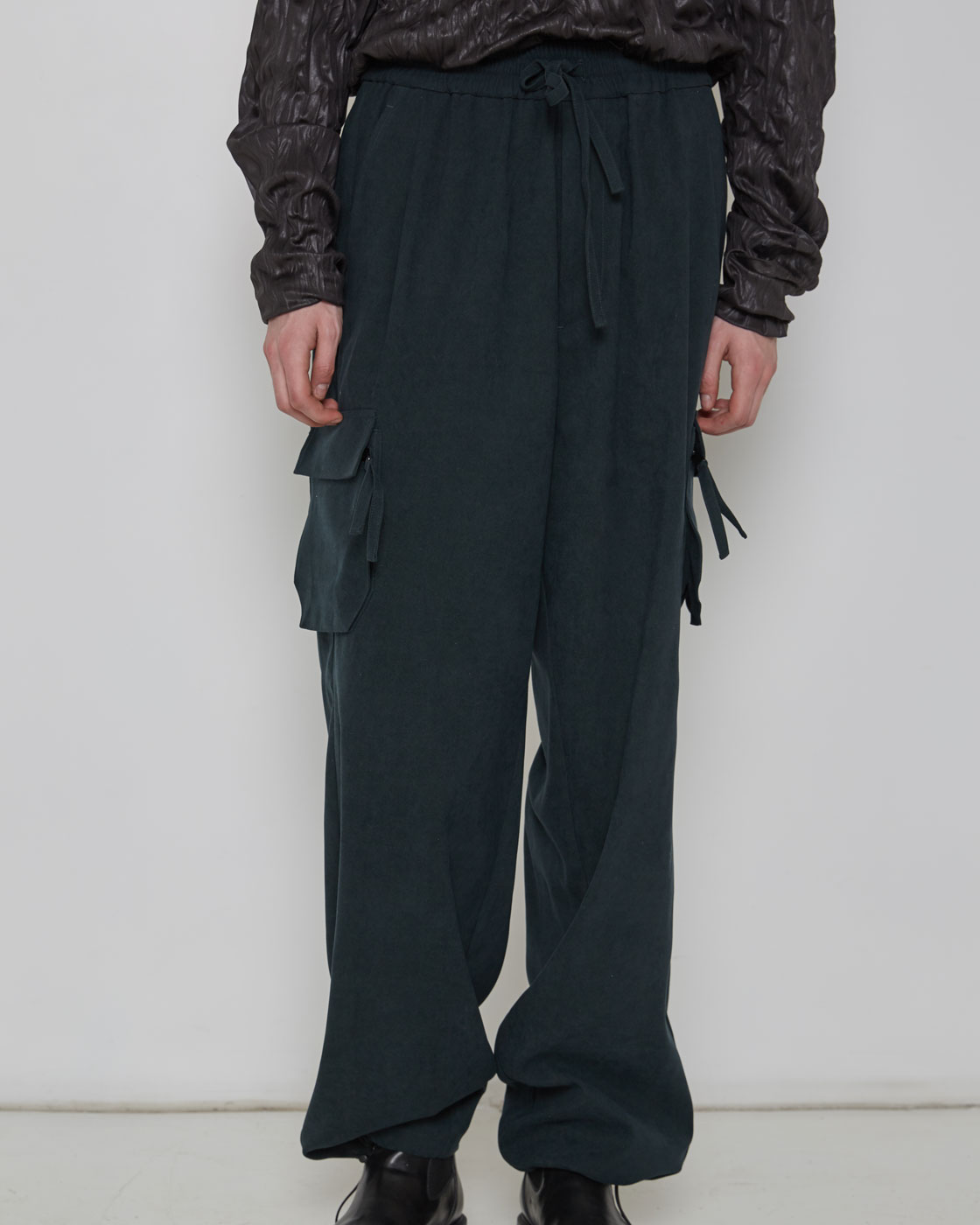 Dark Green Loose Cargo Pants