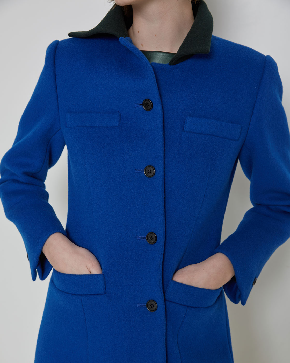 Blue Unbalanced Wool Blazer