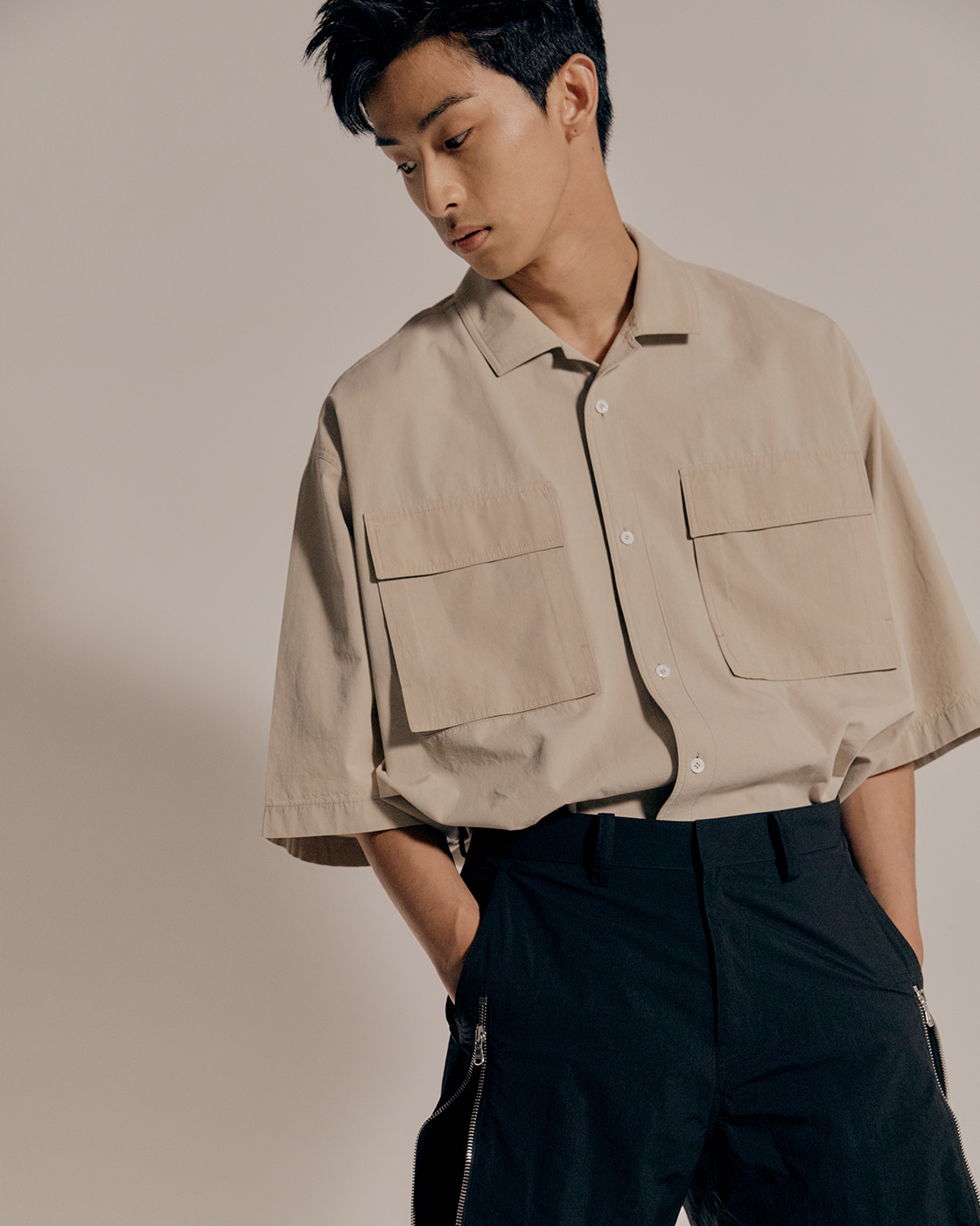 Beige Oversized Short Sleeve Shirt