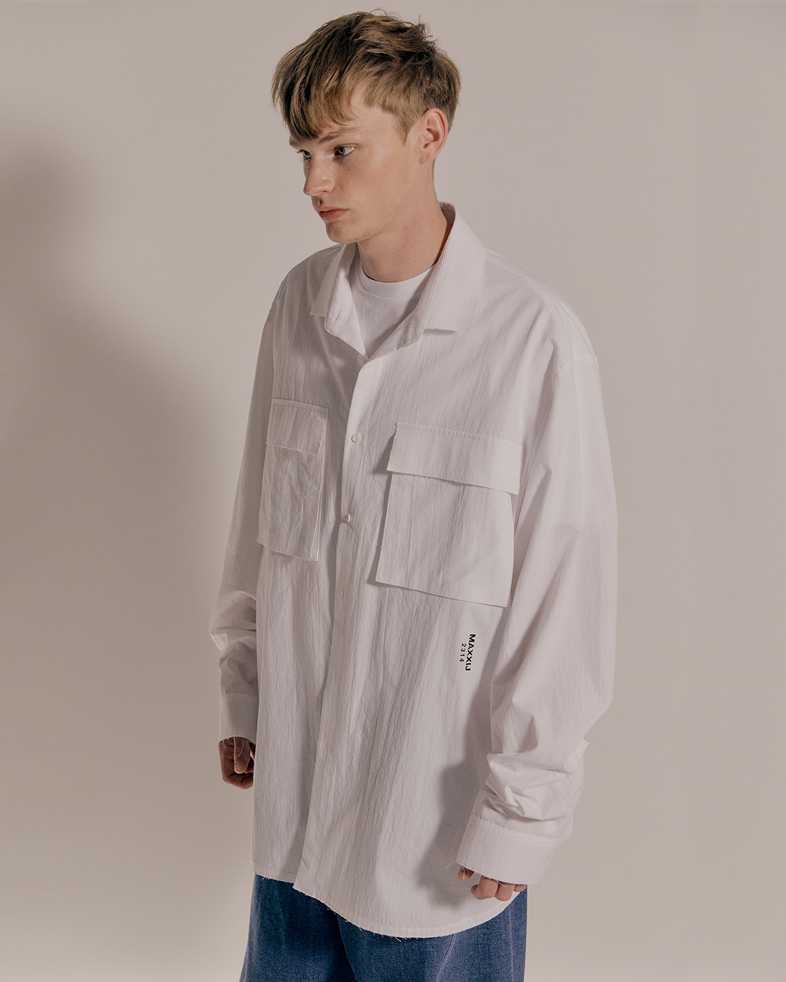 Black Logo Play White Oversized Shirt