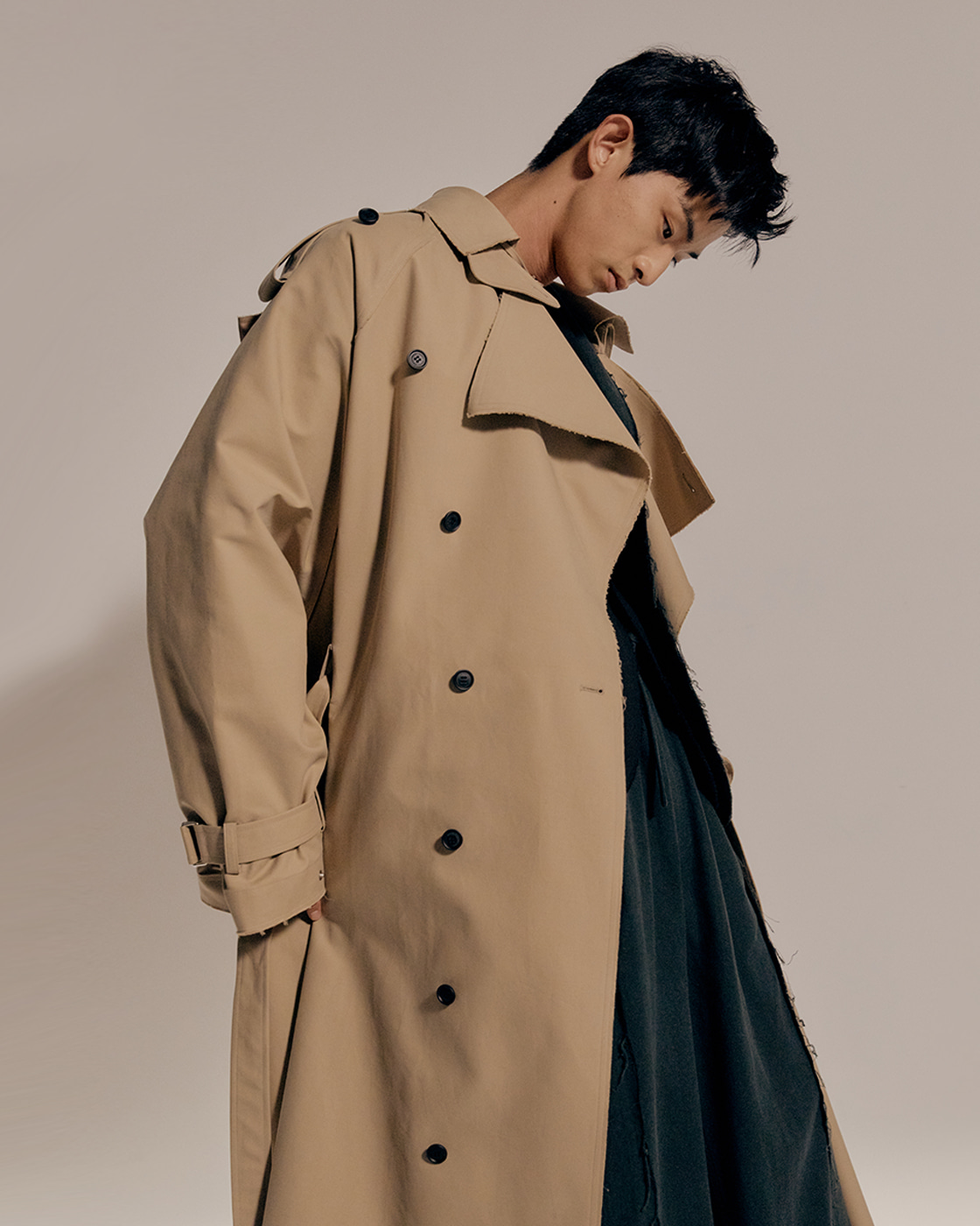 Beige Cotton Distressed Double Breasted Trench Coat