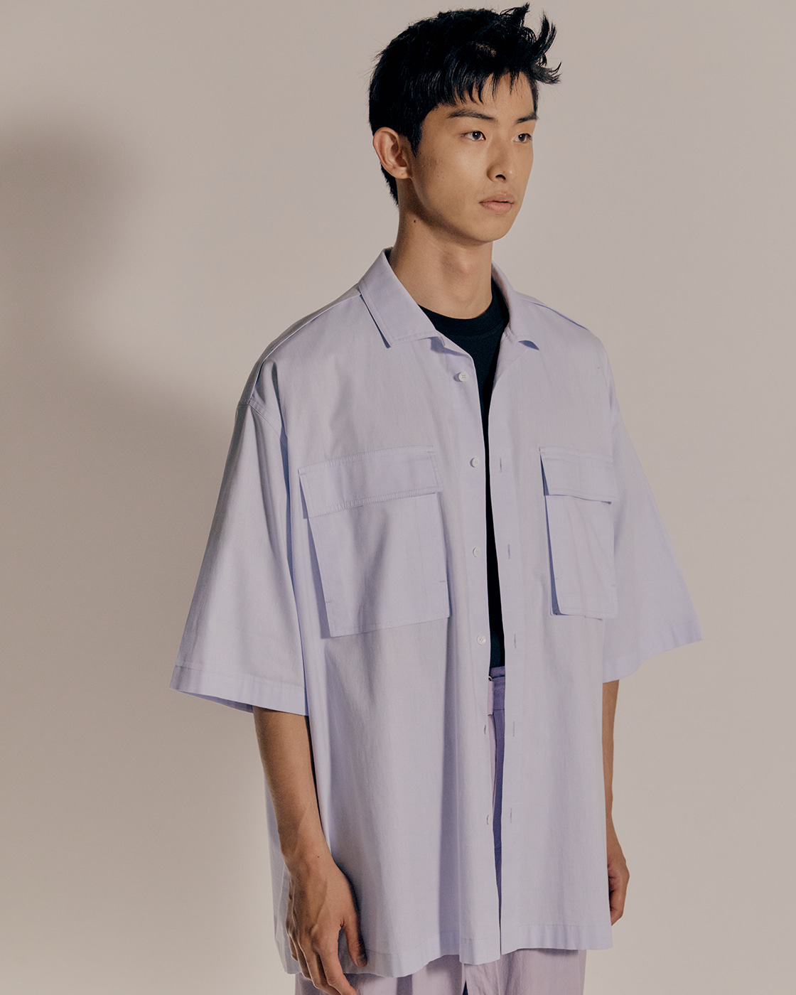 Blue Oversized Short Sleeve Shirt