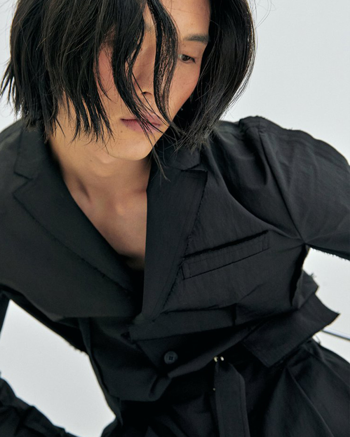 Black Cotton Nylon Insideout Seam Binding Blazer