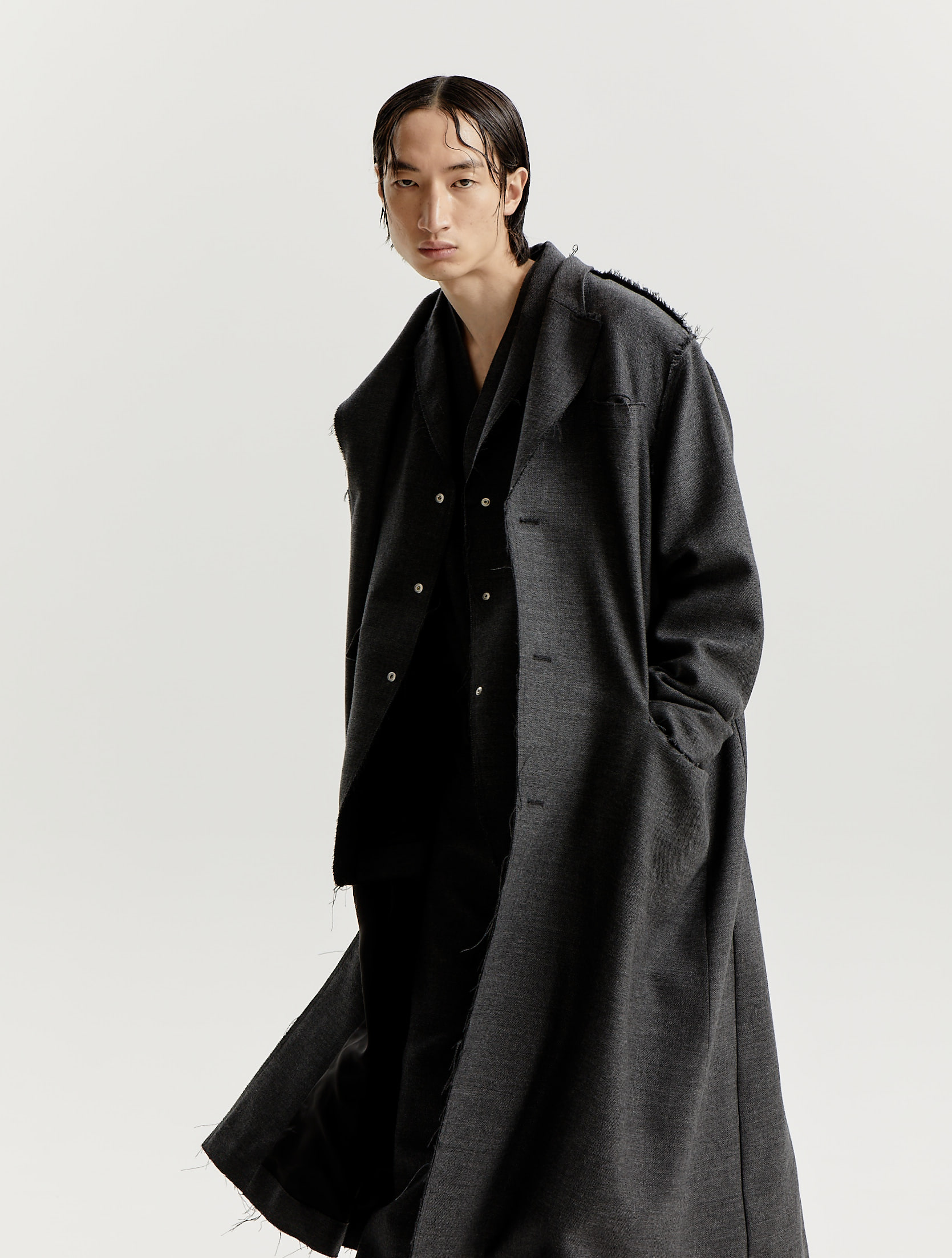 Dark Grey Wool Woven Inside Out Coat