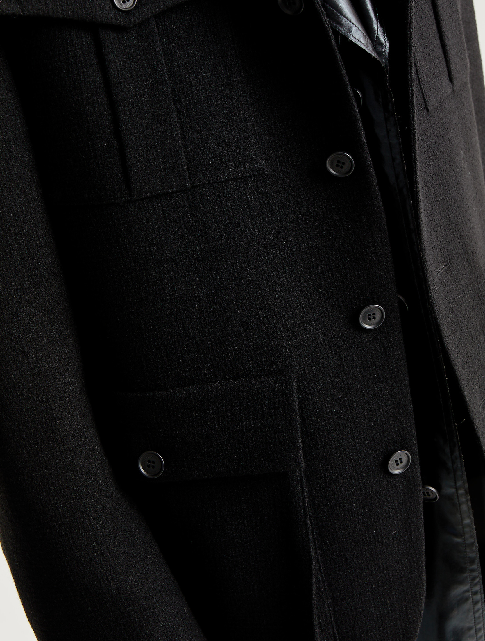 Black Wool Folded Collar Stitched Military Jacket