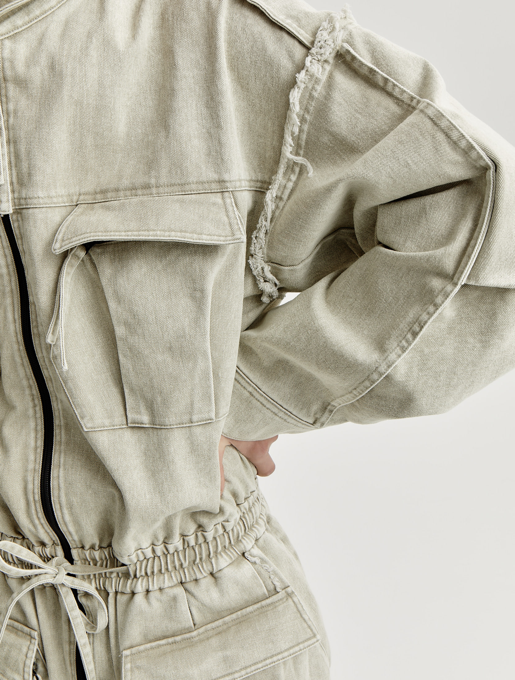 Stone Washed Signature Pocket Raw Edge Denim Overall