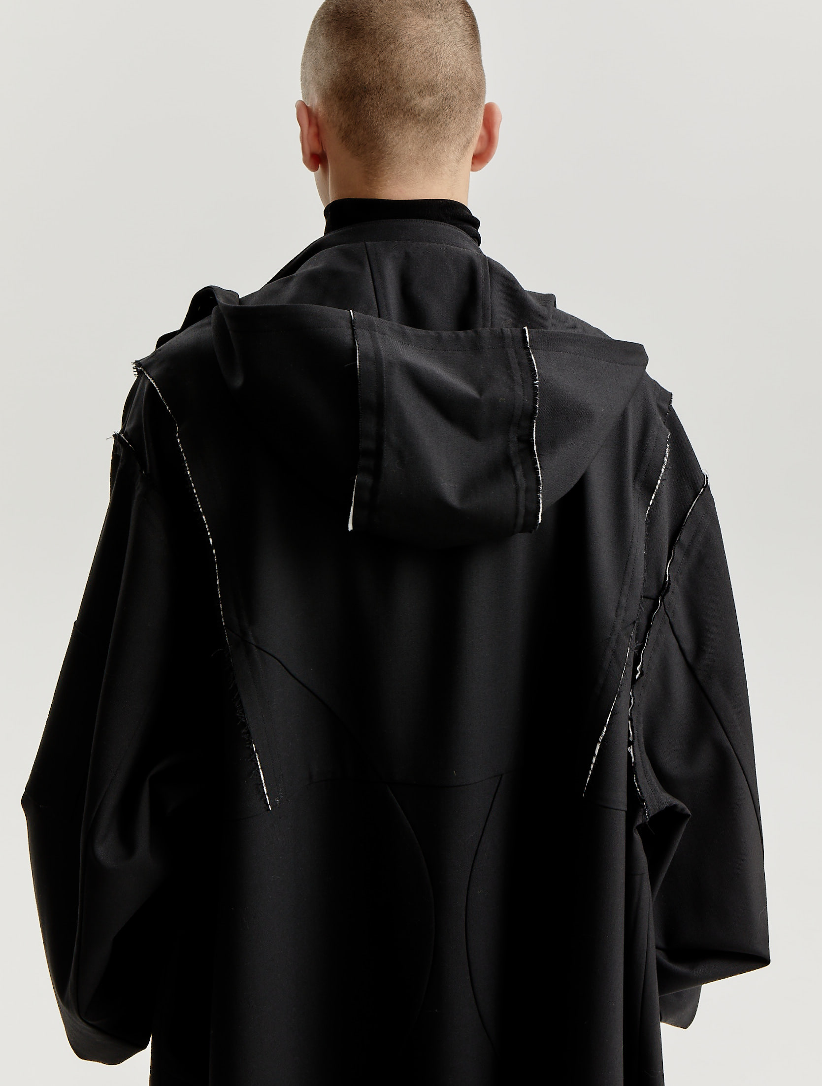 Black Wool Distressed Hooded Rain Coat