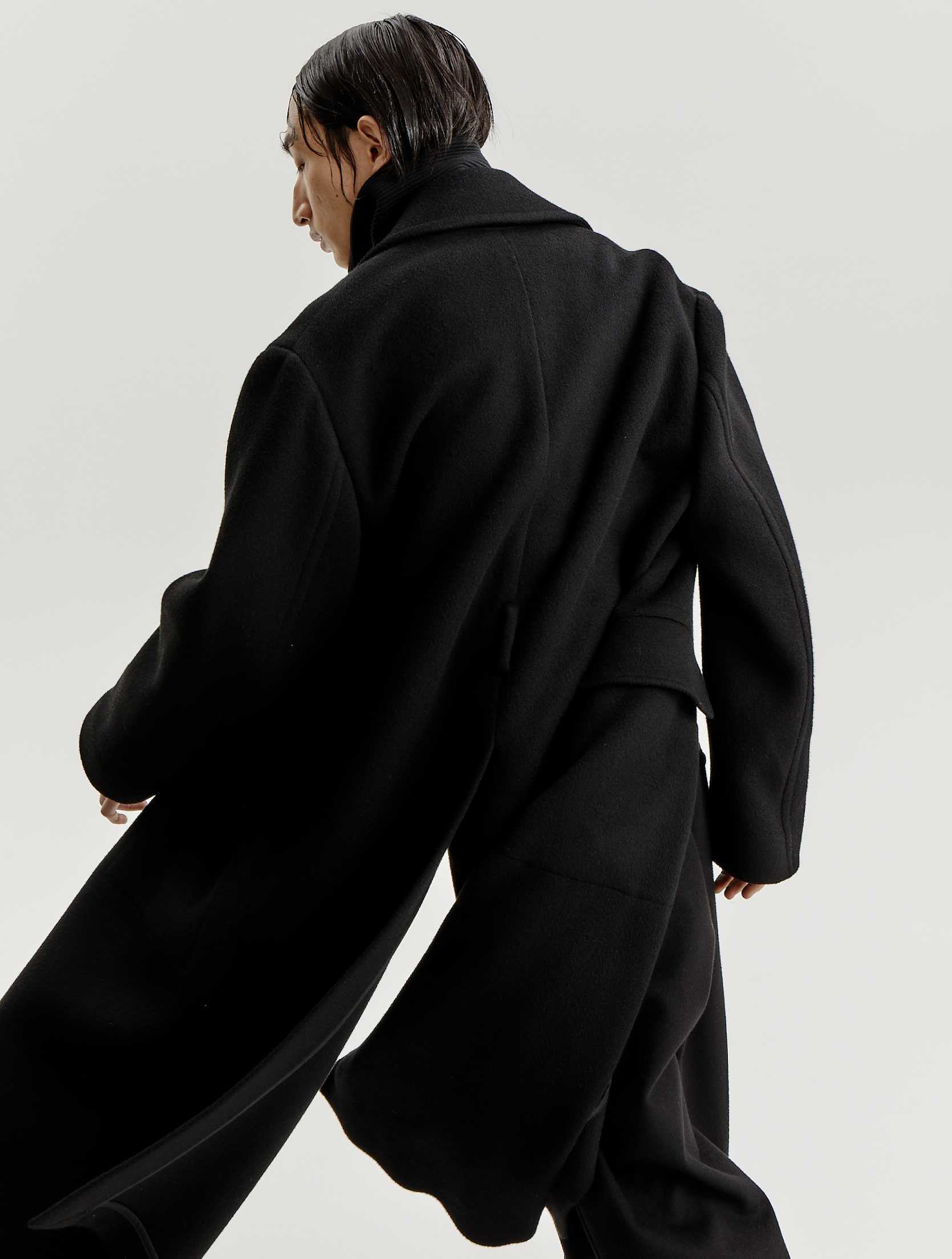 Black Wool Officer Coat