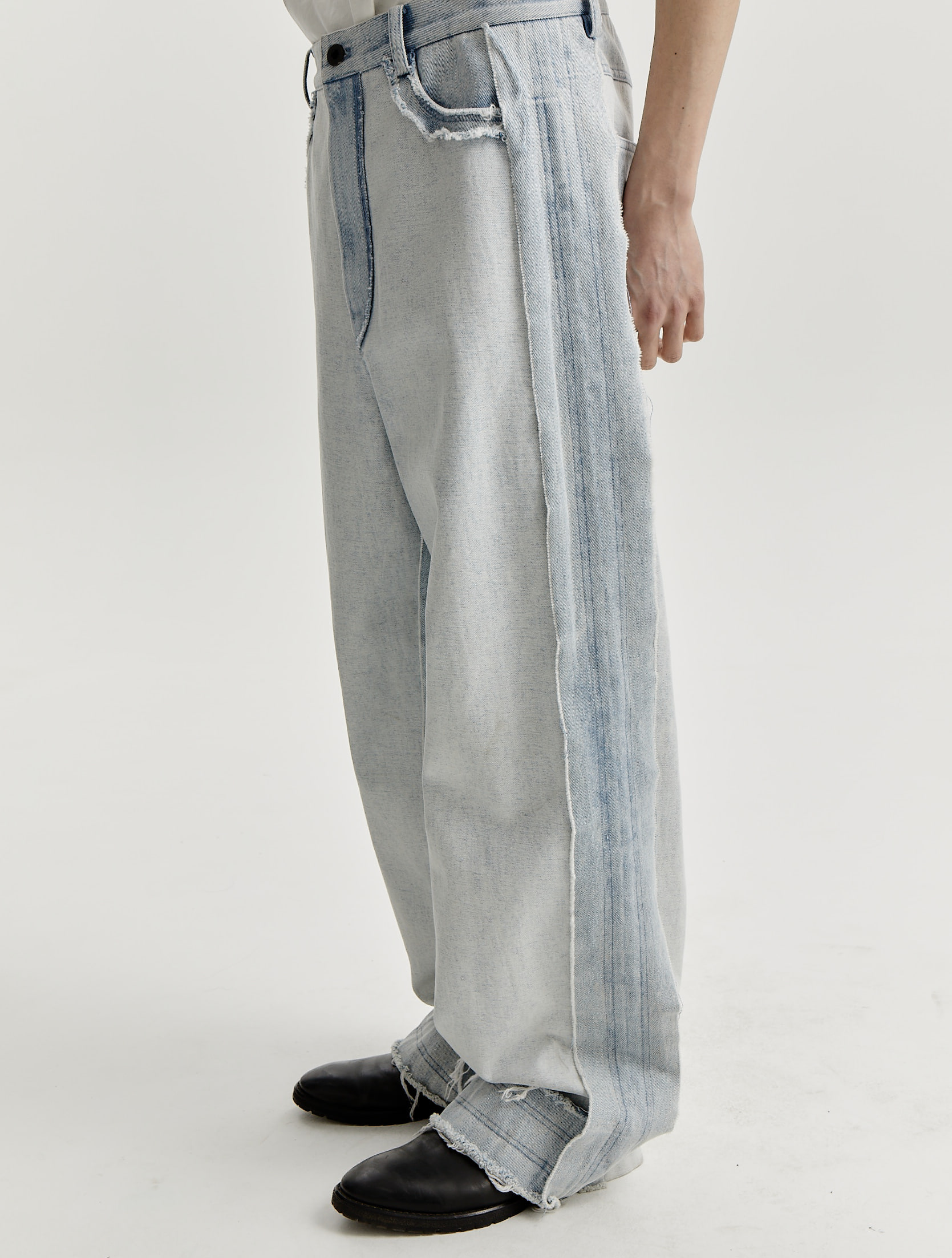 Stone Washed Ice Blue Straight Loose Jeans