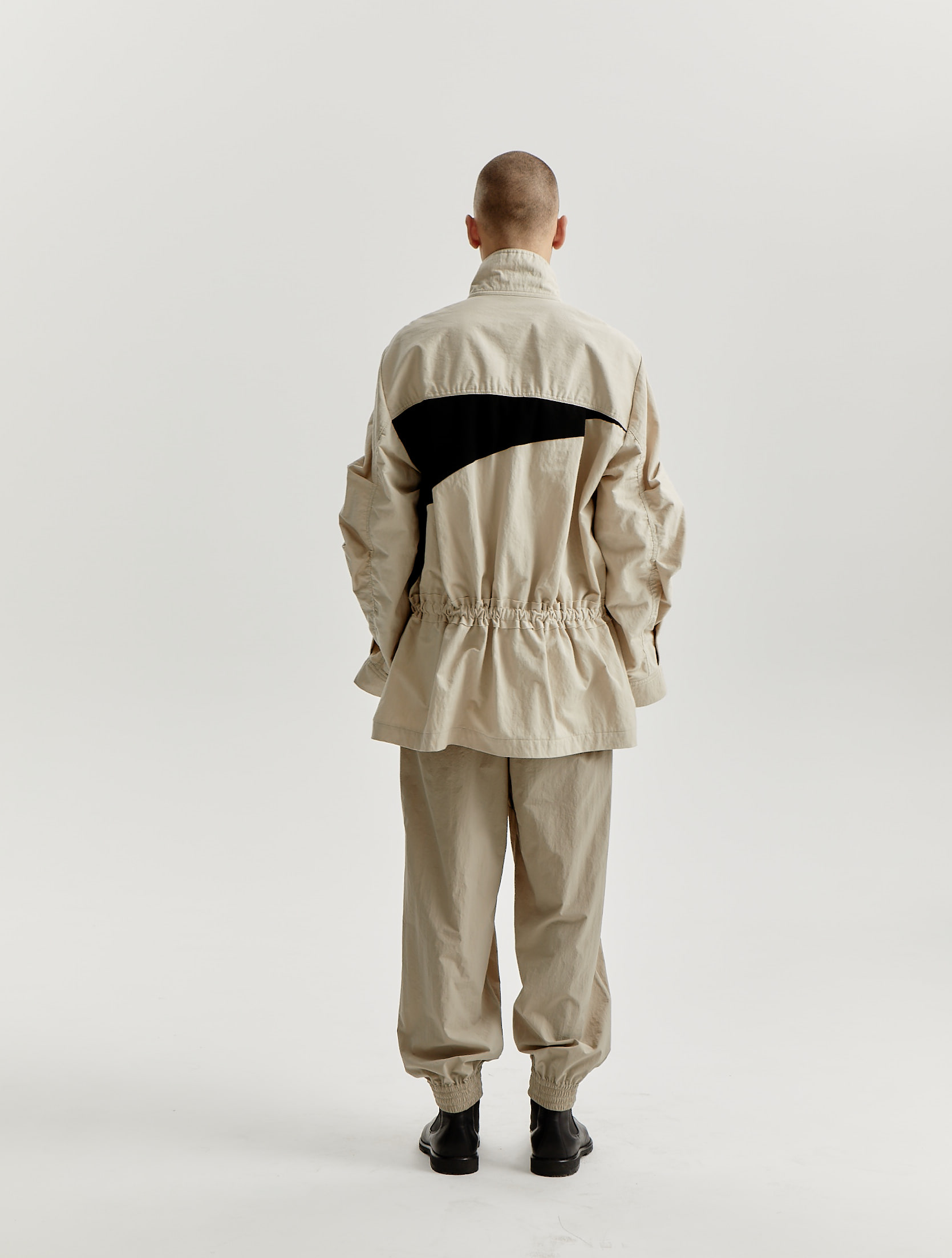 Black/Beige Color Blocking Gathering Safari Jacket