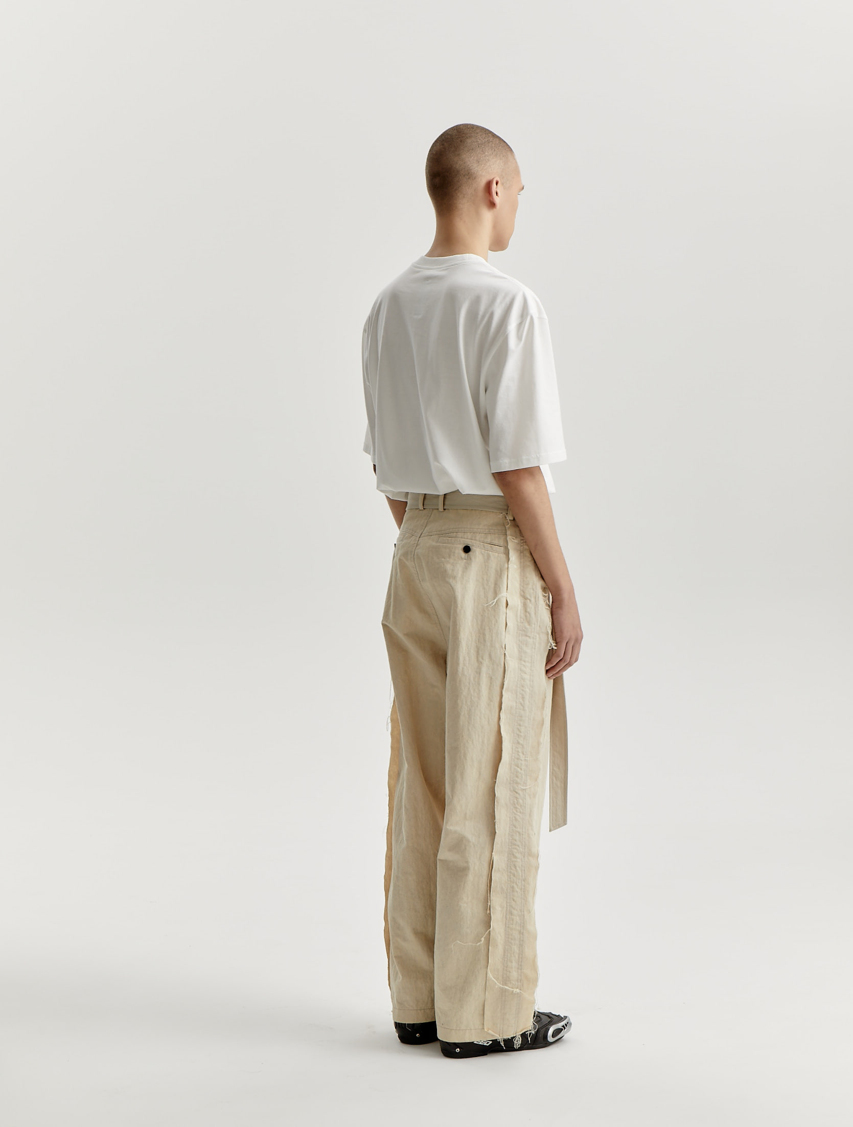 Light Beige Cotton Nylon Raw Edge Wide Trousers