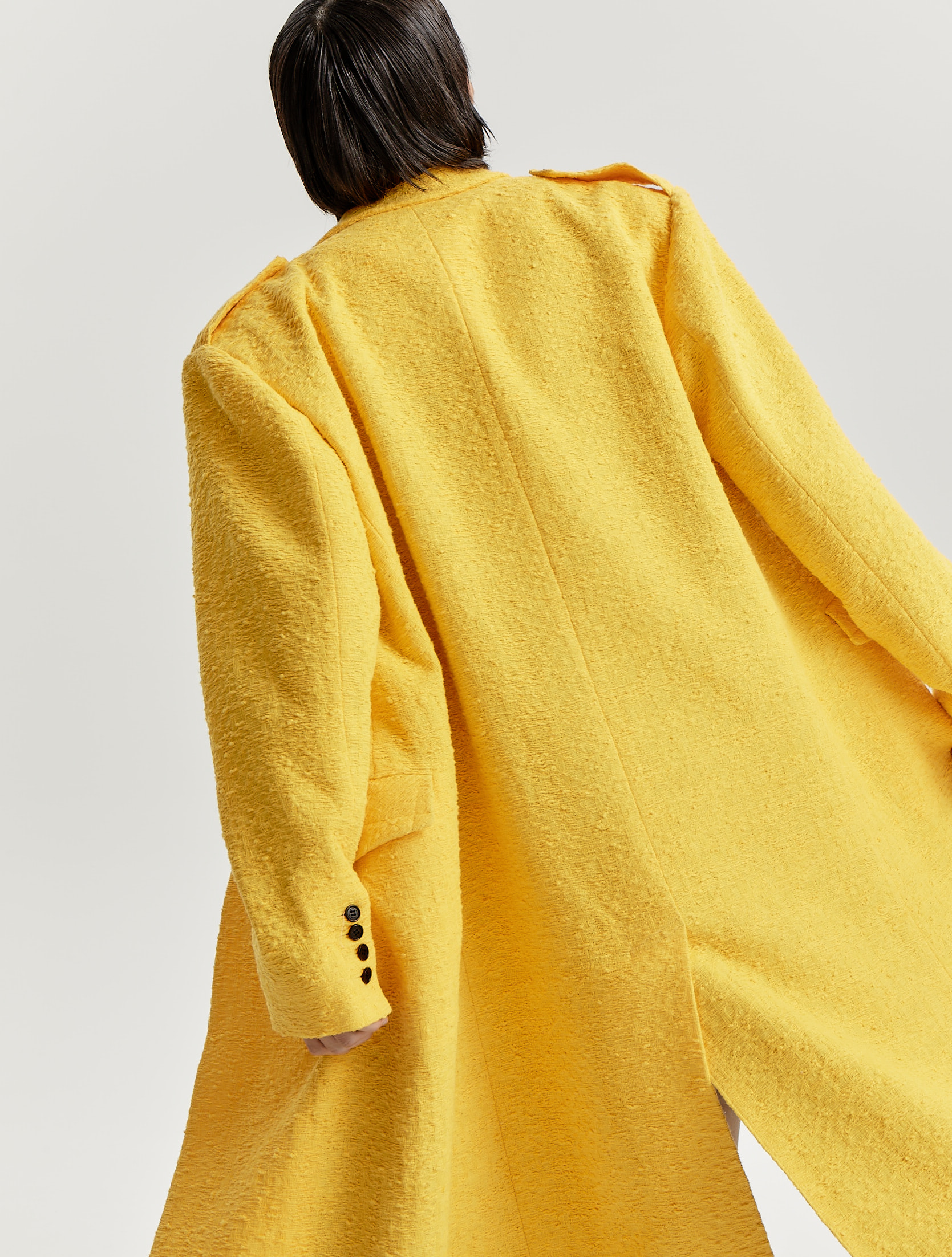 Bumblebee Yellow Signature Collar Military Coat