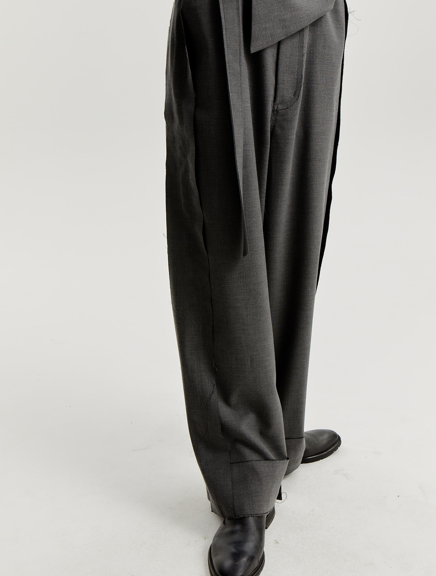 Grey Basic Wide Trousers