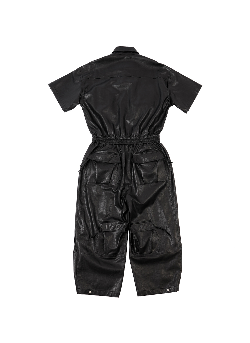 Black Faux Leather Patch Pocket Overall