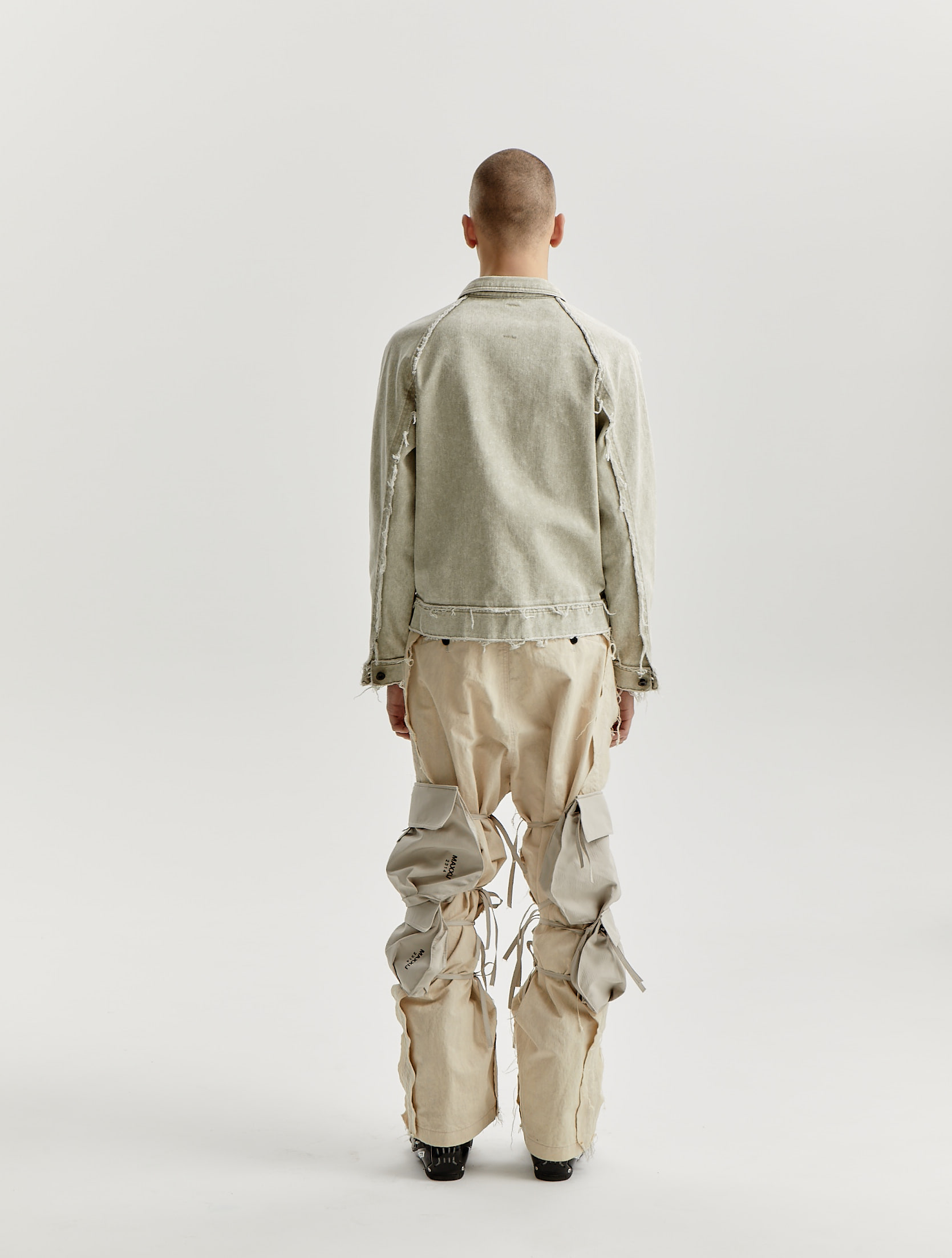 Stone Washed Beige Distressed Denim Jacket